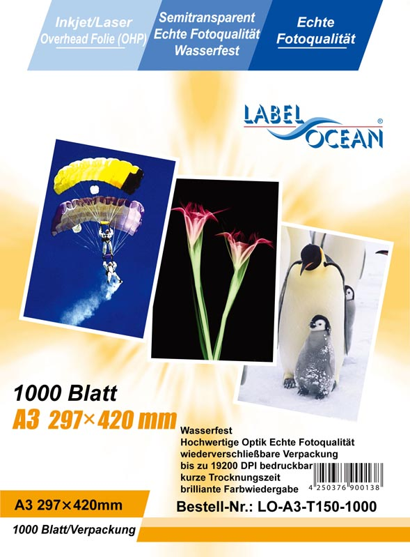 A3 Watervaste overheadfolie voor inkjetprinters