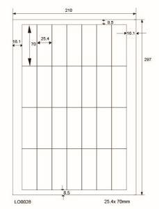 Adresetiketten-Barcode - 25,4x70mm